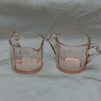 Vintage Pink Glass Creamer and Sugar Server Containers