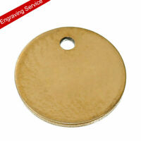 10PCS Gold Plated Stainless Steel Blank Stamping Tags Round Charm Pendants..