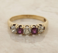 Edwardian 18ct Yellow Gold Ruby and Diamond Ring Size N 1/2