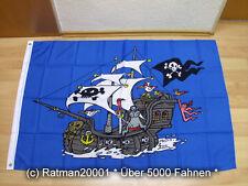 Fahnen Flagge Piratenschiff Blau - 95 x 135 cm