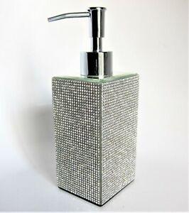 Bella Lux Crystal Mirror Full Rhinestone Soap Lotion Dispenser Pump Luxury Bath
