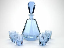 Blue Art Deco Date-Lined Glass