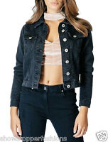 NEW Denim Jacket Women's Jean Jackets Ladies Black Size 6 8 10 12 14 16 Vintage