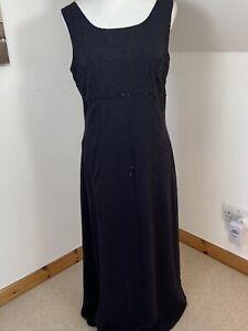 Laura Ashley Black Silk Evening Maxi Dress Size 14 Beaded Chiffon Embroidered
