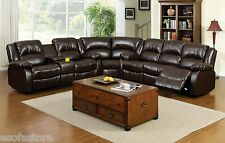 Rustic Dark Brown Bonded Leather Sectional Recliners Transitional Style Sofa Set