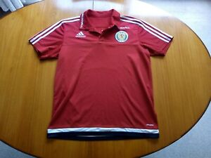 Adidas Scotland Football Shirt Large Size L Red Polo Training Top Vauxhall 2015
