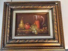 Vtg Original Oil Frank Lean Fruit Pitcher Still Life Wood Framed Painting Art