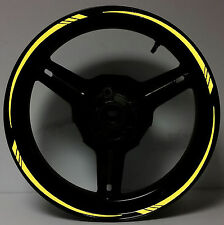 """BRIGHT YELLOW REFLECTIVE MOTORCYCLE RIM STRIPES WHEEL DECALS TAPE STICKERS 17"""""""