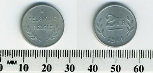 Belgium 1944 - 2 Francs Zinc Coated Steel Coin - WWII - Allied Occupation - #6