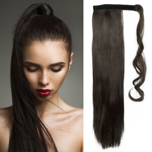 """Real Clip in Hair Extensions dark brown Wrap Ponytail As Human UK Clearance 23"""""""