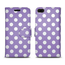Flip Wallet Leather Cover Case for Apple iPhone 5 5s SE 6 6s 7 & Plus Models iPhone 7 Polka Dot Lilac - Spots Print Circle Design