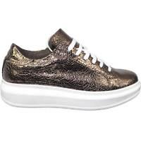 sneakers scarpe donna sportivo ginnico vera pelle made in italy bronzo bottolato