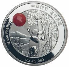 2019 Z China Moon Panda w/ Red Jade Insert 1 oz Silver Proof Medal SKU59306