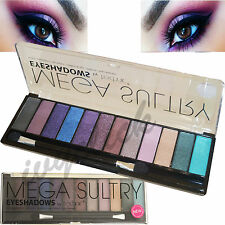 TECHNIC 12 SHADES MEGA SULTRY EYESHADOW PALETTE PURPLE BLUE GREEN SMOKEY NATURAL