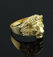 Mens Lion Head Gold Plated Sterling Silver Ring Size 10 New Style