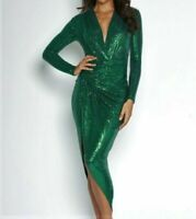 JOHN ZACK FOREST GREEN SEQUIN PLUNGE V NECK WRAP OVER   DRESS