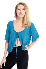Womens Short Sleeve Ladies Frill Tie Cropped Cardigan Bolero Shrug Top Plus Size
