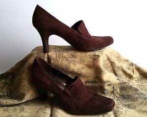 ANNE KLEIN Browne Leather Suede Shoe AKERIS Sz 7.5 Square Toe Heels