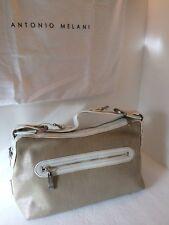 Antonio Melani purse White Leather & Metallic Linen Handbag Retail $119