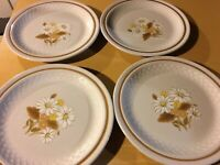 "Set Of 8 Vintage Color Stone By Nikko 10.5"" Stoneware Dinner Plates"