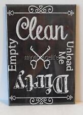 "Clean Dirty Dish washer Vintage Chalkboard Country 2"" x 3"" Fridge Magnet Chalk"