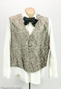 Vest Men's Taupe/Gray Paisley Patterned Victorian Steampunk Style Vest