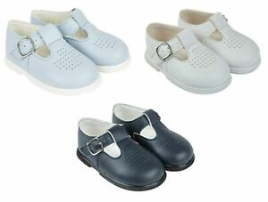 SPANISH NEW BOYS T-BAR PAYPODS BABY/TODDLER FIRST PRAM WALKING HARD SOLE SHOES
