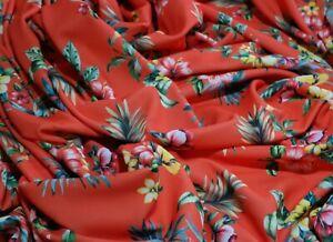 "LARGE REMNANT 3 Metres Hawaiian Vibrant Print Scuba Fabric Stretch Jersey 60"""