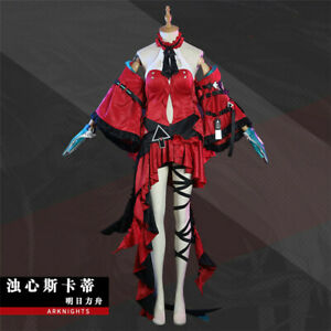 Arknights Skadi the Corrupting Heart Dress Red Cosplay Custome With Accessories