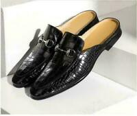 Mens Real Leather Buckle Mules Slip On Slippers Backless Summer Black Shoes