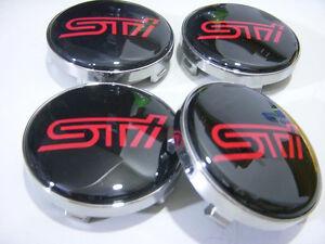 NEW JDM 4PCS S-T-I Wheel Center Hub Cap Emblem Badge Decal Fit For 60mm