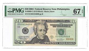 2004 $20 PHILADELPHIA FRN, PMG SUPERB GEM UNCIRCULATED 67 EPQ BANKNOTE