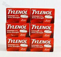 Lot of 6 Tylenol Extra Strength Acetaminophen 500mg 24 Caplets Exp:09/2023