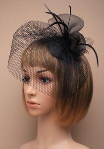Large Black Beak Clip Hat Fascinator Weddings Ladies Day Race Royal Ascot 20