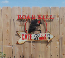 Rustic Rusted Metal Painted Road Kill Cafe Sign Wall Hanging