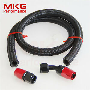 AN4 4AN Stainless Steel Braided Oil Fuel Line Hose + 0° + 45° Swivel Fitting BR