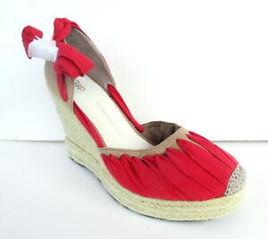 NEW Gap Canvas and Straw Lace Up Espadrille Wedge Sandals Women's Size 9