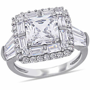 Amour Sterling Silver Cubic Zirconia Double Halo Engagement Ring