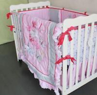 4Pcs Butterfly Cotton Baby Crib Cot Bedding Sets Quilt Bumper Sheet Dust Ruffle