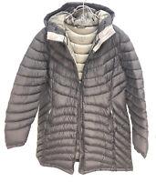 Women's LL Bean Ultralight 850 Down Hooded Jacket Coat Long Size XL  ( As Is)