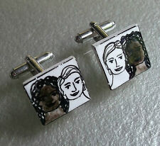 CUFFLINKS NOVELTY FACES CERAMIC POTTERY MENS