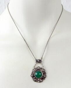 Jugendstil Collier aus 800er Silber mit Rosen und grünem Schmuckstein Abhängung