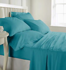 100% Cotton Sheet Set 300TC Solid Color Marine Blue King By Malibu Home