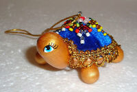 UNIQUE BEAUTIFUL RUSSIAN CHRISTMAS ORNAMENT~TURTLE~DECORATED WITH BEADS~NEW