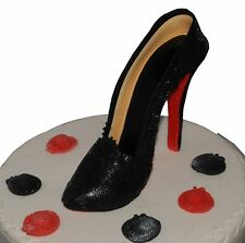 Edible Black High Heels Stiletto Shoe Set Handmade Sugarpaste Cake Decoration