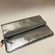 Victoria's Secret Angel Wings Silver Metallic Shiny Fold Over Clutch Evening Bag