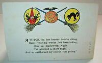 Halloween Postcard Poem Gibson Witch Bat Black Cat 1916 Vintage Original Antique