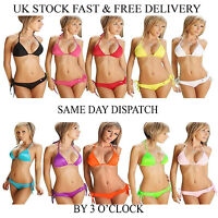 Women Push Up Bra Beach Bandage Triangle Top Bikini Set Swimsuit UK Vincenza