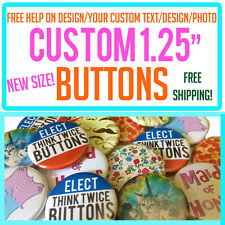 "100 Custom 1.25"" inch Buttons Badges Pins Punk Indie Bands Rock Pinback Church"