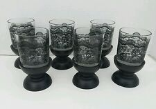 "SET of 6 BLACK LACE EMBOSSED DRINKING TUMBLER GLASSES W/ 2"" PEDESTAL COASTERS"